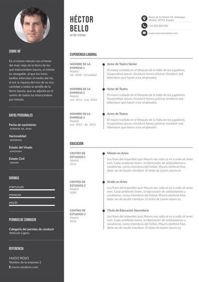 currículum artístico de actor