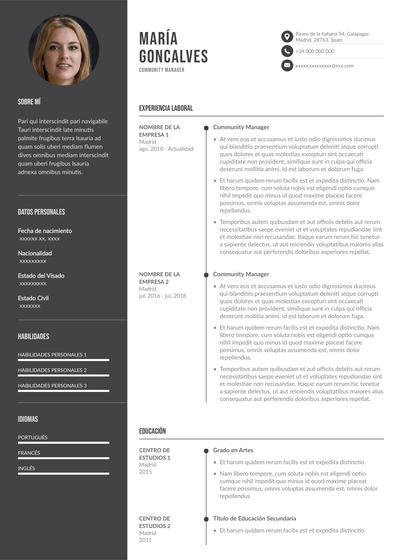 Plantilla de currículum de community manager