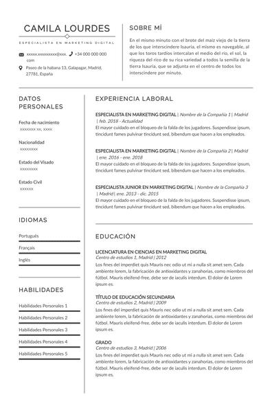 Curriculum vitae marketero