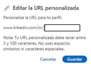 Editar la url personalizada en linkedin