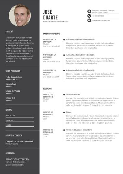 currículum de asistente administrativo contable