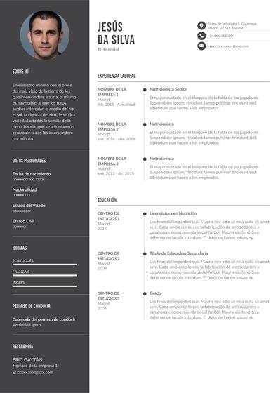 currículum de nutricionista