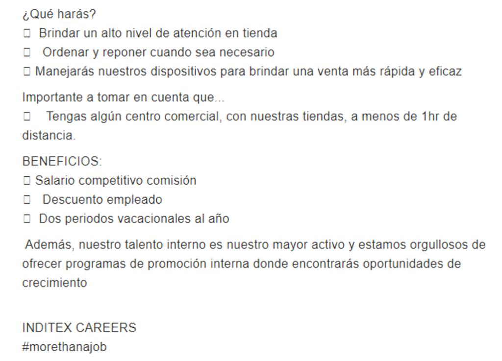 Oferta de empleo en inditex