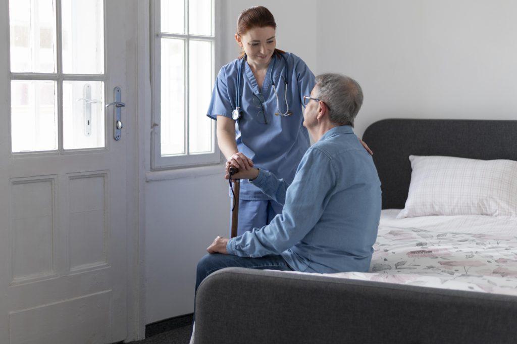 Medium shot nurse checking man