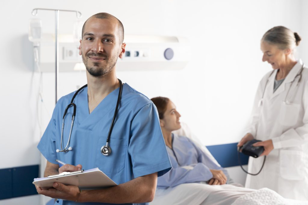 Nurse and doctor helping patient medium shot