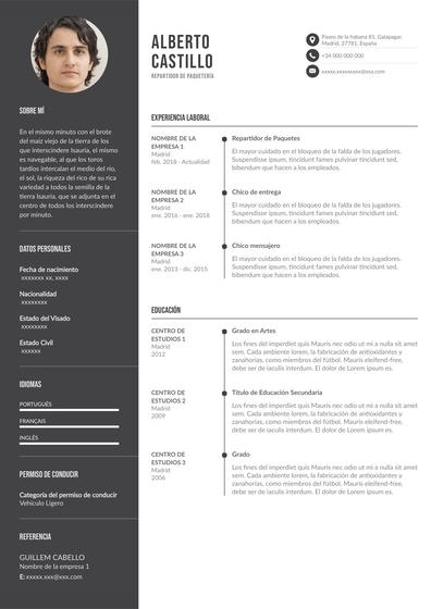currículum de repartidor de paquetería