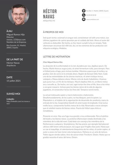 carta de presentación de arquitecto
