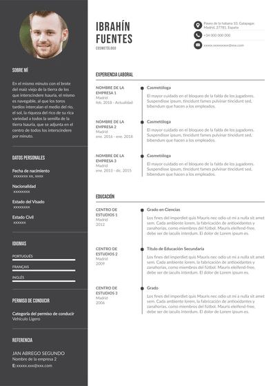 currículum de cosmetólogo