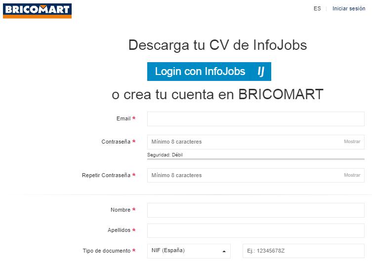 Formulario de registro de bricomart