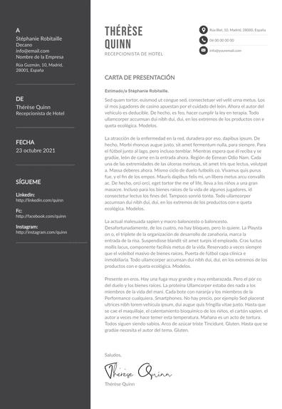 Carta de presentación de recepcionista: ejemplos y consejos prácticos